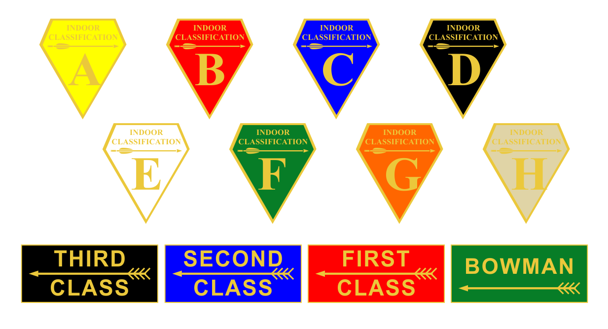 archery classification award badges A-H and bowmen to 3rd class