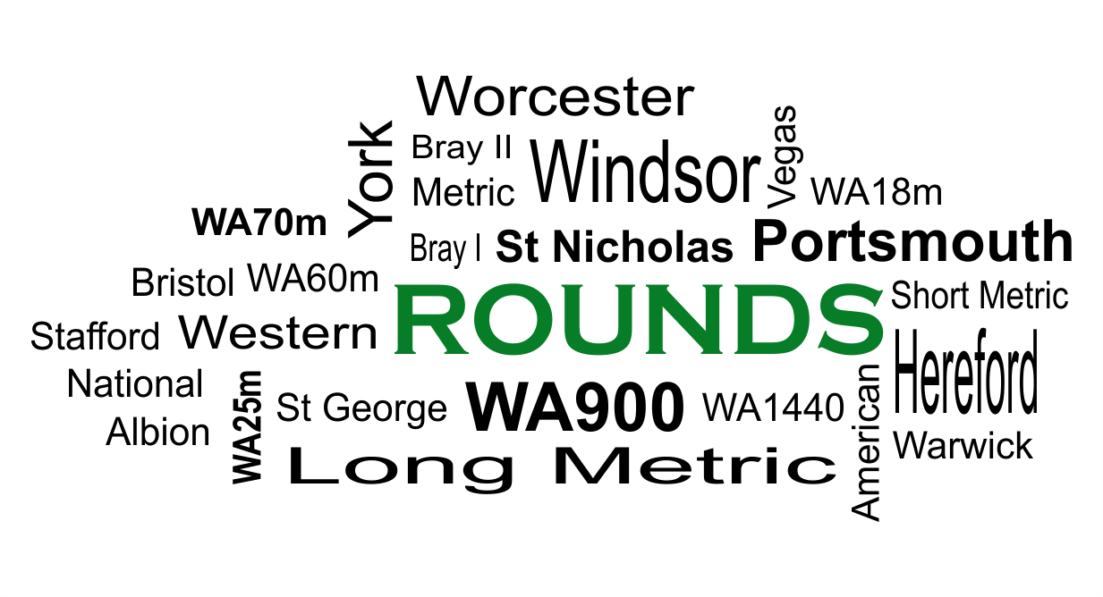 tag cloud of archery rounds
