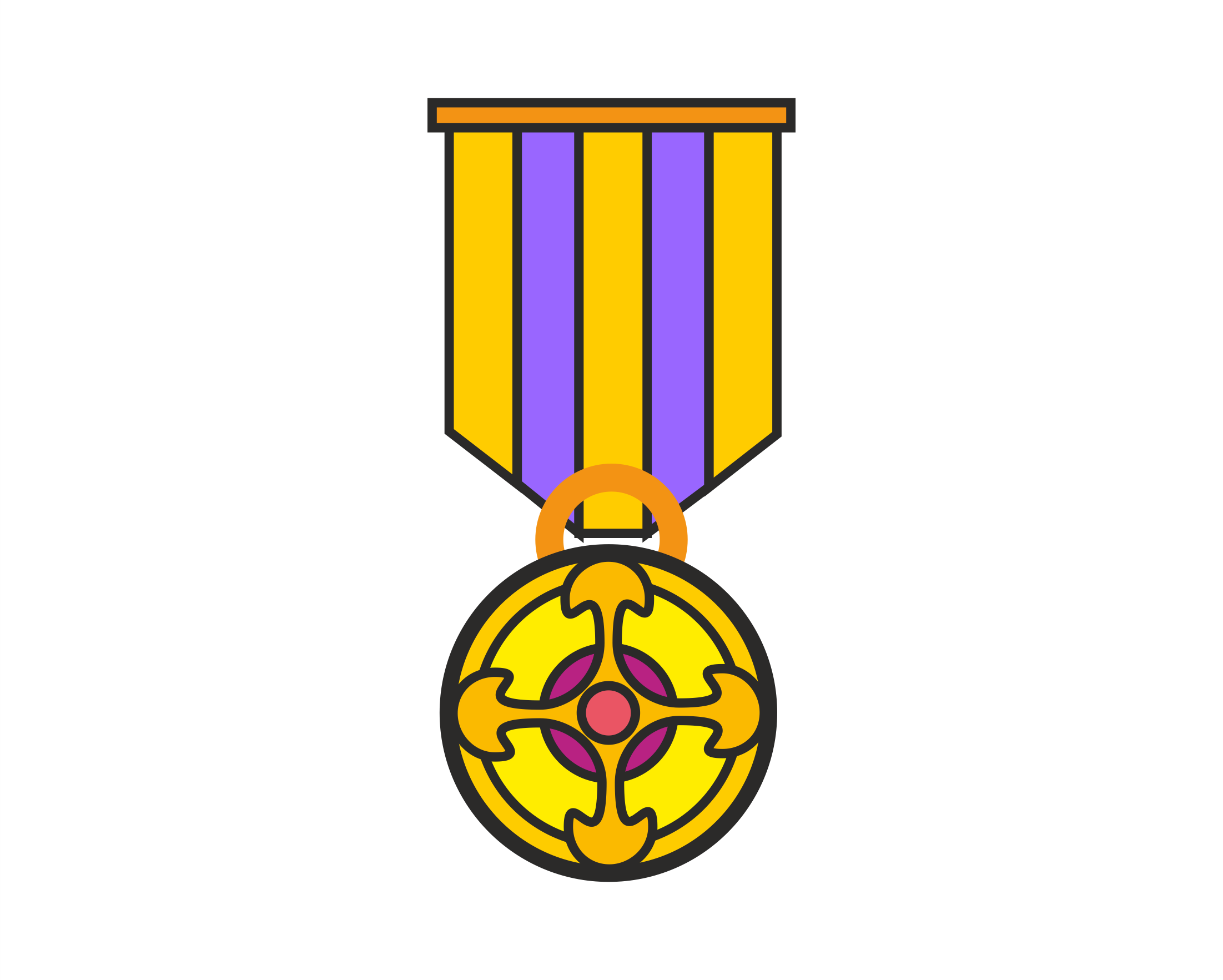 a cartoon of a medal