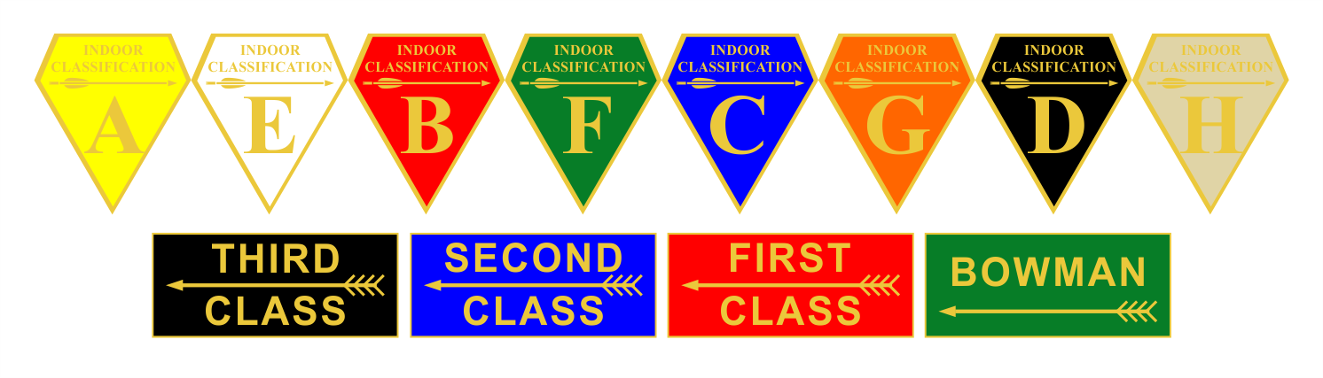 Classification Award Badges for 3rd Class, 2nd Class, 1st Class, Bowmen and Indoor Grades A-H