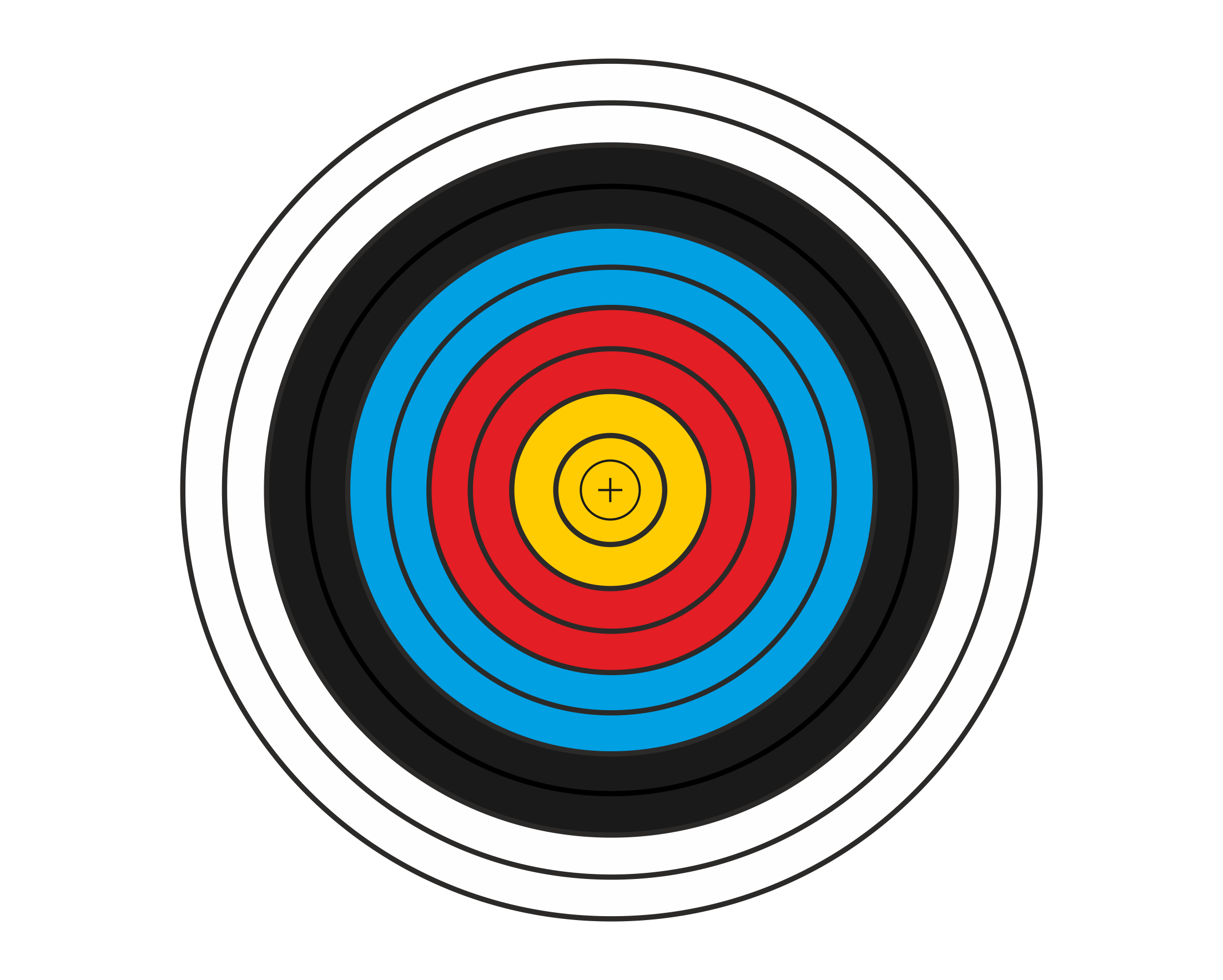Round Target Face with gold, red, blue, black, white rings from the centre outwards